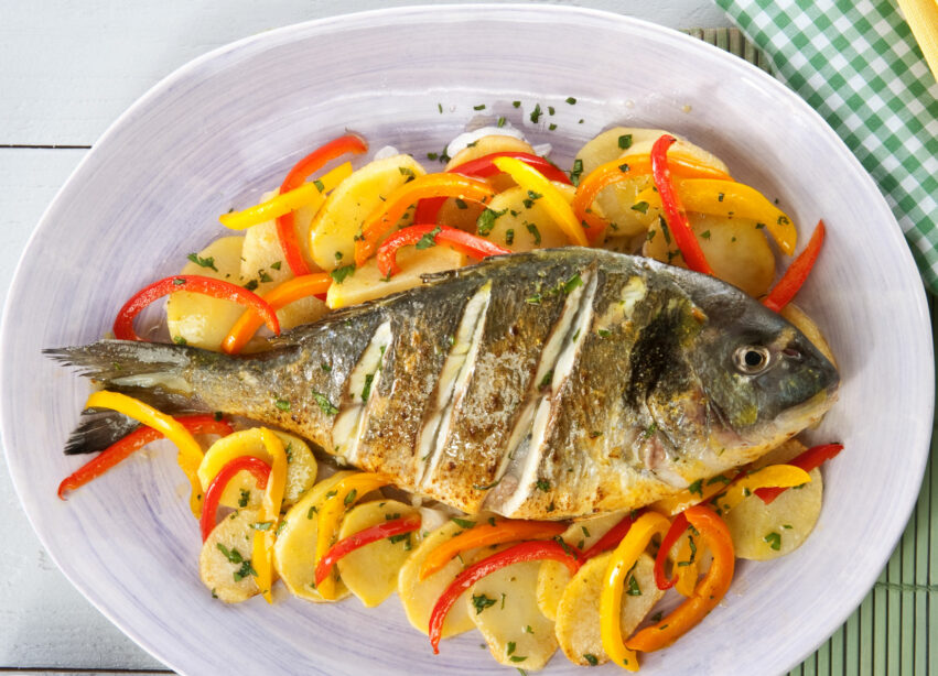 AVRAMAR SEA BREAM WITH PEPPERS, POTATOES AND  MUSTARD VINAIGRETTE