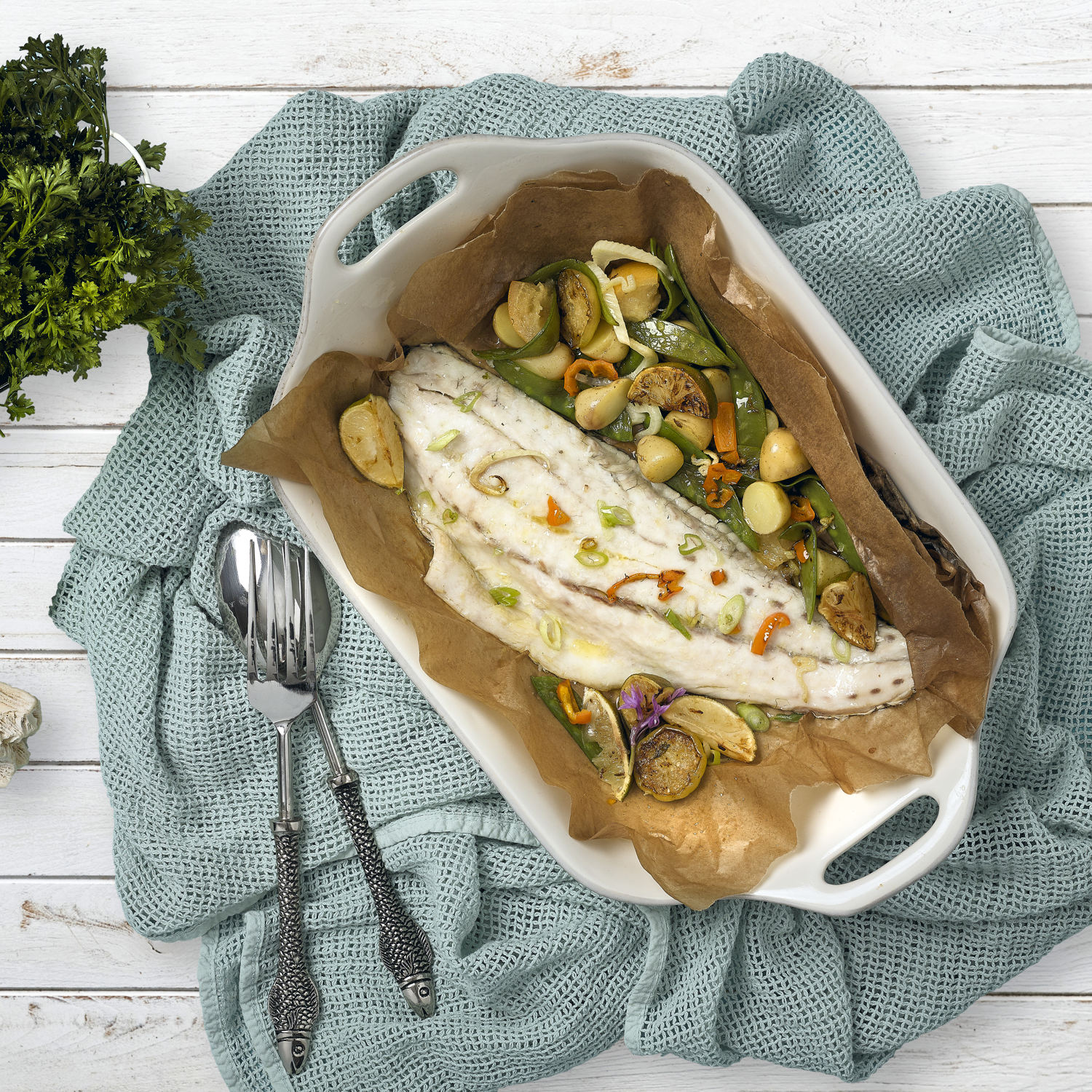 BAKED FILLET OF AVRAMAR CORVINA WITH VEGETABLES
